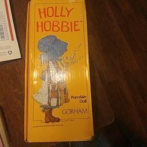 Vintage Holly Hobbie Blue Girl porcelain music dol